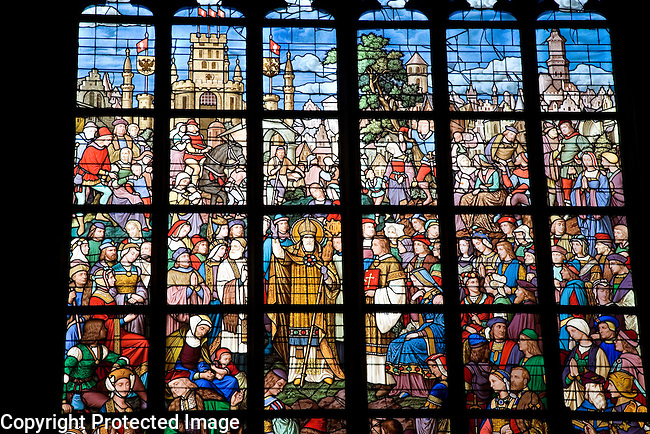 Detail on Stained Glass Window of Onze Lieve Vrouwekathedraal - Cathedral Church of Our Lady, Antwerp, Belgium, Europe