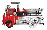 Blended x-ray image of a toy firetruck by Jim Wehtje, specialist in x-ray art and design images.