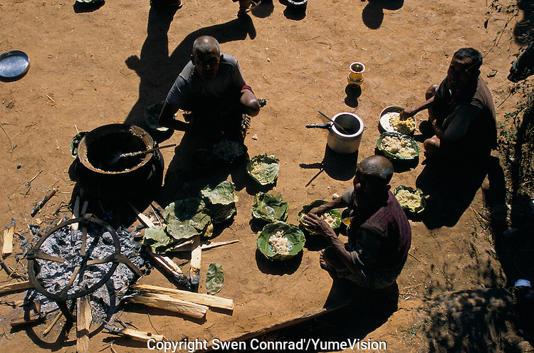 Cooking in a marriage ceremony in Rolpa District