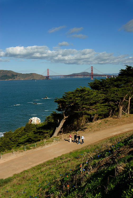 California, San Francisco: Lands End and the Golden Gate Bridge..Photo #: 25-casanf75726.Photo © Lee Foster 2008