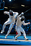 Mcc0041438 . Daily Telegraph..DT Sport..2012 Olympics..Learn to Love..Venezuelan Ruben Limbardo vs Italian Paolo Pizzo in the mens Epee individual rounds at the ExCel centre...1 August 2012...