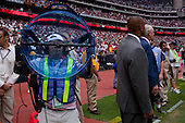 Houston, Texas<br /> October 2, 2011<br /> <br /> Team owner Bob McNair (blue jacket) and general manager and first as executive vice president, Rick Smith (grey jacket) on the sidelines just before the game begins. <br /> <br /> The Houston Texans defeated the Pittsburgh Steelers at the Reliant Stadium 17 to 10.