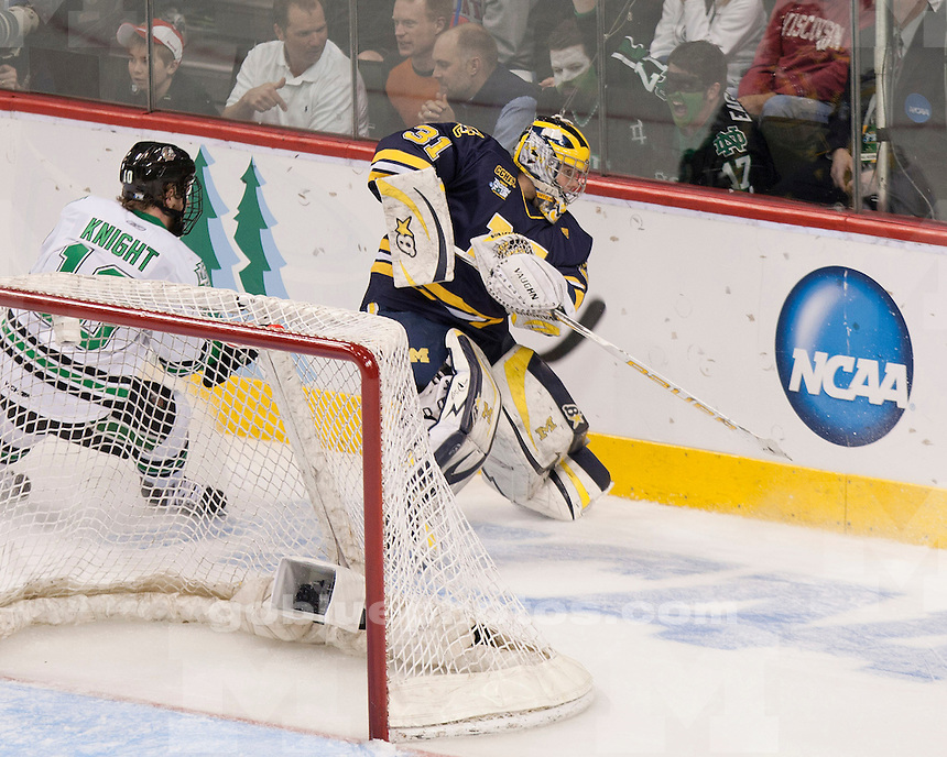 University of Michigan ice hockey 2-0 victory over North Dakota in the NCAA Frozen Four semifinals at Xcel Energy Center in St. Paul, MN, on April 7, 2011.