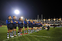 The Bath Rugby team line up for a minutes applause in memory of recently deceased Joost van der Westhuizen. Aviva Premiership match, between Bath Rugby and Northampton Saints on February 10, 2017 at the Recreation Ground in Bath, England. Photo by: Patrick Khachfe / Onside Images