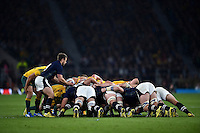 Greig Laidlaw of Scotland looks to put the ball into a scrum. Rugby World Cup Quarter Final between Australia and Scotland on October 18, 2015 at Twickenham Stadium in London, England. Photo by: Patrick Khachfe / Onside Images
