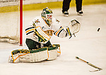 20 January 2017: University of Vermont Catamount Goaltender Stefanos Lekkas, a Freshman from Elburn, IL, makes a third period save, without his stick, against the University of Connecticut Huskies at Gutterson Fieldhouse in Burlington, Vermont. The Catamounts held onto their lead throughout the game to defeat the Huskies 5-4 in Hockey East play. Mandatory Credit: Ed Wolfstein Photo *** RAW (NEF) Image File Available ***