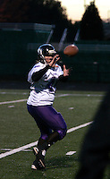 The Dallas Diamonds' Jessica Springer during warm-ups before a game against the Houston Energy in the Women's Professional Football League championship. Springer is both a fullback and a linebacker.<br />
