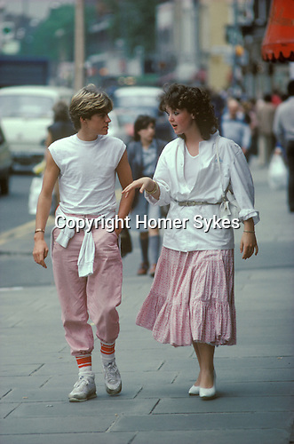 Young trendy couple his and her clothes. Kings Road Chelsea1982