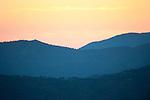 Sunset, Landscape, Mediterranean Habitat for Iberian Lynx, Sierra de Andujar Natural Park, Sierra Morena, Andalucia, Spain