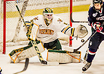 20 January 2017: University of Vermont Catamount Goaltender Stefanos Lekkas, a Freshman from Elburn, IL, makes a third period save against the University of Connecticut Huskies at Gutterson Fieldhouse in Burlington, Vermont. The Catamounts held onto their lead throughout the game to defeat the Huskies 5-4 in Hockey East play. Mandatory Credit: Ed Wolfstein Photo *** RAW (NEF) Image File Available ***