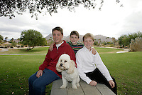 28 November 2009:  Brothers Jackson, Alex, Matthew Lytle pose for pictures at the park in Palm Desert, CA.