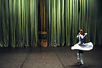 Nataliya Osipova, a soloist with the Bolshoi Ballet, warmed onstage in the minutes before the curtain went up for a performance of Massine's Les Presages at the Bolshoi Theatre's New Stage in Moscow, Russia, January 25, 2007