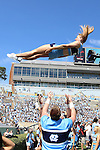 07 September 2013: UNC cheerleader. The University of North Carolina Tar Heels played the Middle Tennesse State University Blue Raiders at Keenan Stadium in Chapel Hill, NC in a 2013 NCAA Division I Football game.