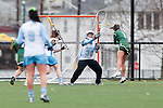 20110405 - Medford/Somerville, Mass. -  Tufts goalkeeper Sara Bloom (A11) makes a save against Babson at Bello Field on April 5, 2011. (Kelvin Ma/Tufts University)