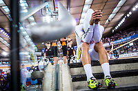 Picture by Alex Whitehead/SWpix.com - 04/03/2016 - Cycling - 2016 UCI Track Cycling World Championships, Day 3 - Lee Valley VeloPark, London, England - Colombia's Fernando Gaviria prepares to compete in the Men's Omnium Individual Pursuit.