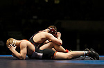 LA CROSSE, WI - MARCH 11: Dustin Weinmann (top) of Wisconsin-La Crosse pauses after beating Cross Cannone of Wartburg in the 141 weight class during NCAA Division III Men's Wrestling Championship held at the La Crosse Center on March 11, 2017 in La Crosse, Wisconsin. Weinmann beat Cannone 4-0 to win the National Championship. (Photo by Carlos Gonzalez/NCAA Photos via Getty Images)
