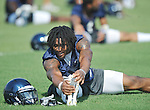 Mississippi running back Brandon Bolden stretches as football practice in Oxford, Miss. on Sunday, August 7, 2011.  (AP Photo/Oxford Eagle, Bruce Newman)