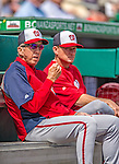 2 March 2013: Washington Nationals Manager Davey Johnson (foreground) sits with batting coach Rick Eckstein prior to the first pitch of a Spring Training game against the St. Louis Cardinals at Roger Dean Stadium in Jupiter, Florida. The Nationals defeated the Cardinals 6-2 in their first meeting since the NLDS series in October of 2012. Mandatory Credit: Ed Wolfstein Photo *** RAW (NEF) Image File Available ***