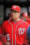 1 May 2011: Washington Nationals Manager Jim Riggleman stands in the dugout during a game against the San Francisco Giants at Nationals Park in Washington, District of Columbia. The Nationals defeated the Giants 5-2. Mandatory Credit: Ed Wolfstein Photo