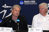 Coach Chris Bucknam, Univ. of Arkansas(Men), Coach Lance Harter(Women), at the 2011 NCAA Indoor Track & Field Championships Press Conference on Thursday, March 10, 2011. Photo by Errol Anderson.