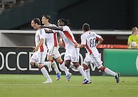 New England Revolution A.J. Soares celebrates his score in the 50th minute of the game with teammates.  D.C. United defeated The New England Revolution 3-2 at RFK Stadium, Saturday May 26, 2012.