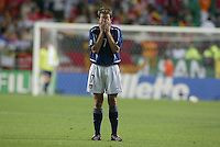 Eddie Lewis after the hard-fought game. The USA lost to Germany 1-0 in the Quarterfinals of the FIFA World Cup 2002 in South Korea on June 21, 2002.