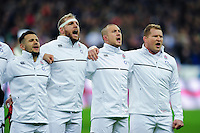 Danny Care, James Haskell, Mike Brown and Dylan Hartley of England sing the national anthem prior to the match. RBS Six Nations match between France and England on March 19, 2016 at the Stade de France in Paris, France. Photo by: Patrick Khachfe / Onside Images