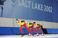 SCHAATSEN: SALT LAKE CITY: Utah Olympic Oval, 12-11-2013, Essent ISU World Cup, training, Ferre Spruyt (BEL), Wannes van Praet (BEL), Maarten Swings (BEL), ©foto Martin de Jong