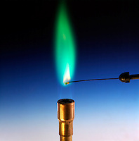 COPPER FLAME TEST: GREEN FLAME<br /> (Variations Available)<br /> Cupric Sulfate On Nichrome Wire<br /> (Transition metal) Cupric sulfate compound is dissociated by flame into gaseous atoms, not ions. Atoms of the element are raised to excited state by high temperature of flame. Excess energy from the atom is emitted as light of a characteristic wavelength.