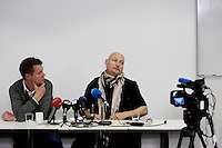 Arendal Norway 20091116 - Freelance journalist Pal Refsdal (right), who was kept hostage by Taliban in Kunar province for one week in November 2009. Here with director of Novemberfilm, the production team who hired Mr. Refsdal, Kjetil Johnsen (left). Photo: Torbjorn Gronning
