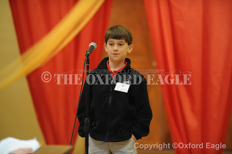 Regents School 4th grader Jefferson Davis in The Mississippi Association of Independent Schools District I East Spelling Bee at the Oxford University United Methodist Church's Activity Center on Thursday, February 19, 2010. Schools participating are Kirk Academy, Marshall Academy, Magnolia Heights, North Delta, Regents, and Oxford University School.