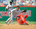 13 July 2008: Houston Astros' second baseman Kazuo Matsui catches Washington Nationals' Willie Harris stealing in the 3rd inning at Nationals Park in Washington, DC. The Astros shut out the Nationals 5-0 to take the rubber match of their 3-game series, as both teams head into the All-Star break and the second half of the 2008 season...Mandatory Photo Credit: Ed Wolfstein Photo