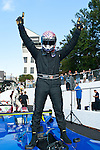 Sean Rayhall celebrates his race victory