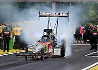 May 17, 2015; Commerce, GA, USA; NHRA top fuel driver Terry McMillen during the Southern Nationals at Atlanta Dragway. Mandatory Credit: Mark J. Rebilas-USA TODAY Sports