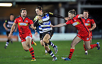 Darren Atkins of Bath United takes on the Bristol United defence. Aviva A-League match, between Bath United and Bristol United on December 28, 2015 at the Recreation Ground in Bath, England. Photo by: Patrick Khachfe / Onside Images