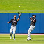 1 March 2017: Miami Marlins outfielder Isaac Galloway pulls in a fly to center field as Marcell Ozuna holds off during Spring Training action against the Houston Astros at the Ballpark of the Palm Beaches in West Palm Beach, Florida. The Marlins defeated the Astros 9-5 in Grapefruit League play. Mandatory Credit: Ed Wolfstein Photo *** RAW (NEF) Image File Available ***