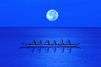 An outrigger canoe with a full moon behind.