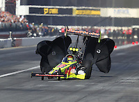 Feb 11, 2017; Pomona, CA, USA; NHRA top fuel driver Troy Coughlin Jr goes sideways in his dragster during qualifying for the Winternationals at Auto Club Raceway at Pomona. Mandatory Credit: Mark J. Rebilas-USA TODAY Sports