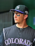 10 July 2011: Colorado Rockies All-Star shortstop Troy Tulowitzki stands in the dugout during a game against the Washington Nationals at Nationals Park in Washington, District of Columbia. The Nationals shut out the visiting Rockies 2-0 salvaging the last game their 3-game series at home prior to the All-Star break. Mandatory Credit: Ed Wolfstein Photo