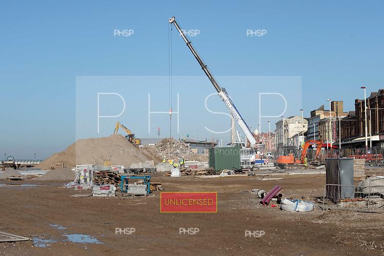 16/02/2011 Blackpool Lancashire UK.Construction on the Comedy Carpet/Tower headland...© Phill Heywood.