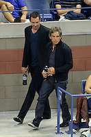 FLUSHING NY- SEPTEMBER 06: Ben Stiller and Hugh Jackmanare seen watching Novak Djokovic Vs Jo Wilfred Tsonga on Arthur Ashe Stadium at the USTA Billie Jean King National Tennis Center on September 6, 2016 in Flushing Queens. Credit: mpi04/MediaPunch