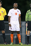 08 October 2013: Clemson's Phanuel Kavita. The University of North Carolina Tar Heels hosted the Clemson University Tigers at Fetzer Field in Chapel Hill, NC in a 2013 NCAA Division I Men's Soccer match. Clemson won the game 2-1 in overtime.