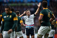 Referee Jerome Garces issues a penalty to South Africa. Rugby World Cup Semi Final between South Africa and New Zealand on October 24, 2015 at Twickenham Stadium in London, England. Photo by: Patrick Khachfe / Onside Images
