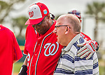 3 March 2016: Washington Nationals Manager Dusty Baker chats with New York Mets VP of Media Relations Jay Horwitz prior to a Spring Training pre-season game at Space Coast Stadium in Viera, Florida. The Nationals defeated the Mets 9-4 in Grapefruit League play. Mandatory Credit: Ed Wolfstein Photo *** RAW (NEF) Image File Available ***