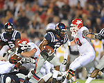 Ole Miss cornerback Charles Sawyer (3) recovers a Fresno State's Chris Carter (43) fumble in the second quarter at Vaught-Hemingway Stadium in Oxford, Miss. on Saturday, September 25, 2010. Ole Miss won 55-38.