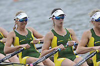 Brandenburg, GERMANY,  AUS BW4X, Bow, Kim BROWN, Laura OSTI, Emma McCARTHY and Lisa SZATSZNAJDER, move away from the start at the 2008 FISA U23 World Rowing Championships, {idow], {date}, [Mandatory credit: Peter Spurrier Intersport Images]. Rowing Course: Brandenburg, Havel Rowing Course, Brandenburg, GERMANY