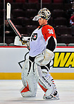 18 December 2008: Philadelphia Flyers' goaltender Antero Niittymaki from Finland warms up prior to facing the Montreal Canadiens at the Bell Centre in Montreal, Quebec, Canada. The Canadiens look to avoid a four-game slide, while the Flyers seek their sixth win in a row. The Canadiens defeated the Flyers 5-2. ***** Editorial Sales Only ***** Mandatory Photo Credit: Ed Wolfstein Photo