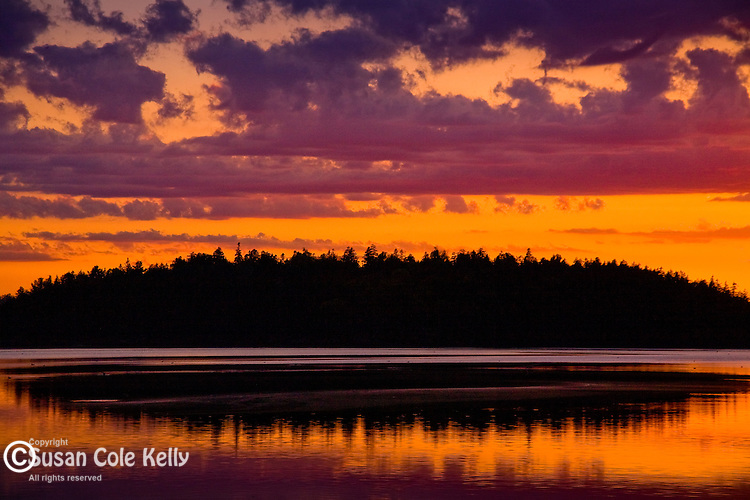 A scarlet sunset on a quiet bay in Downeast ME, USA