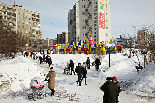 A park in Murmansk, the world's largest Arctic city, in northern Russia.