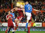Aberdeen v St Johnstone...01.01.15   SPFL<br /> Steven Anderson's header deflects wide off Adam Rooney<br /> Picture by Graeme Hart.<br /> Copyright Perthshire Picture Agency<br /> Tel: 01738 623350  Mobile: 07990 594431